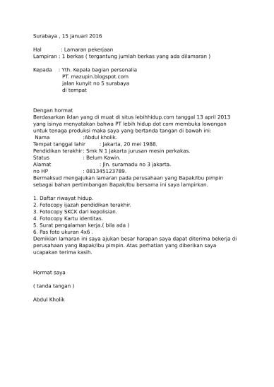 96 Contoh Surat Lamaran Kerja Di Pt Nojorono