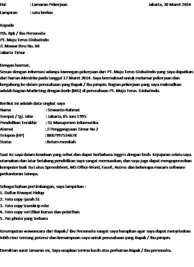 Contoh Surat Lamaran Kerja Untuk Pt Astra Backup Gambar