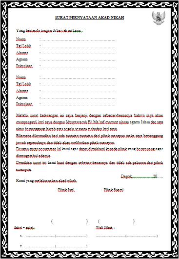 Contoh Surat Nikah Sirih Terbaru Tygpress