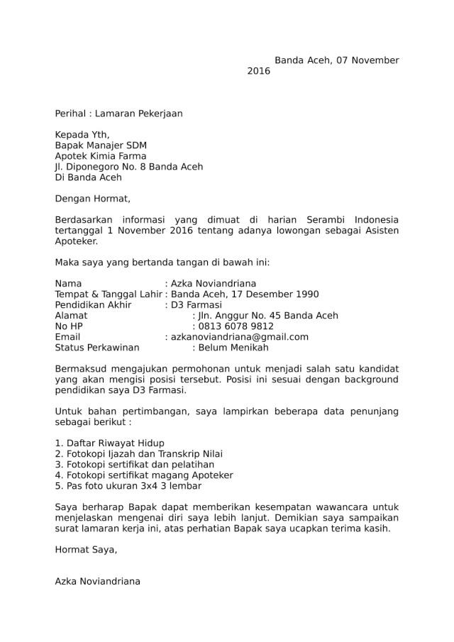 Contoh Surat Lamaran Asisten Apoteker Di Klinik Backup Gambar