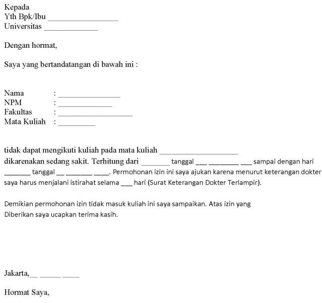 Contoh Surat Izin Tidak Masuk Kerja Karena Berduka Backup Gambar