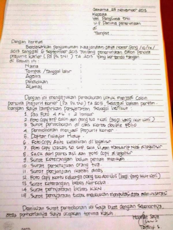 Contoh Surat Lamaran Menjadi Prajurit Tni Tulis Tangan Backup Gambar