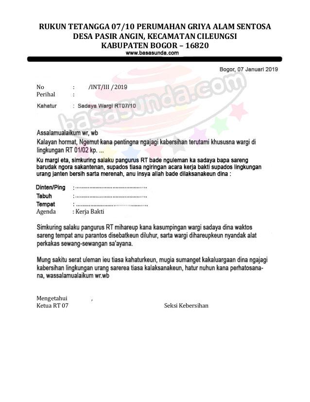 Contoh Surat Resmi Bahasa Sunda Tentang Gotong Royong Backup Gambar