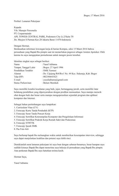 208 Contoh Surat Lamaran Kerja Asisten Apoteker Di Klinik