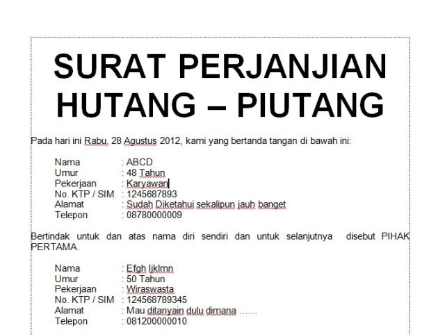 Contoh Isi Surat Perjanjian Hutang Piutang Backup Gambar
