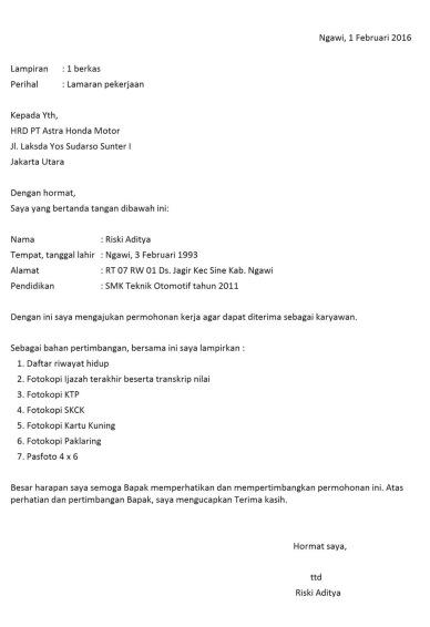 Contoh Surat Lamaran Di Pt Indomarco Backup Gambar