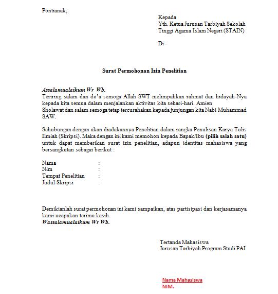 Contoh Surat Izin Penelitian Resmi Backup Gambar