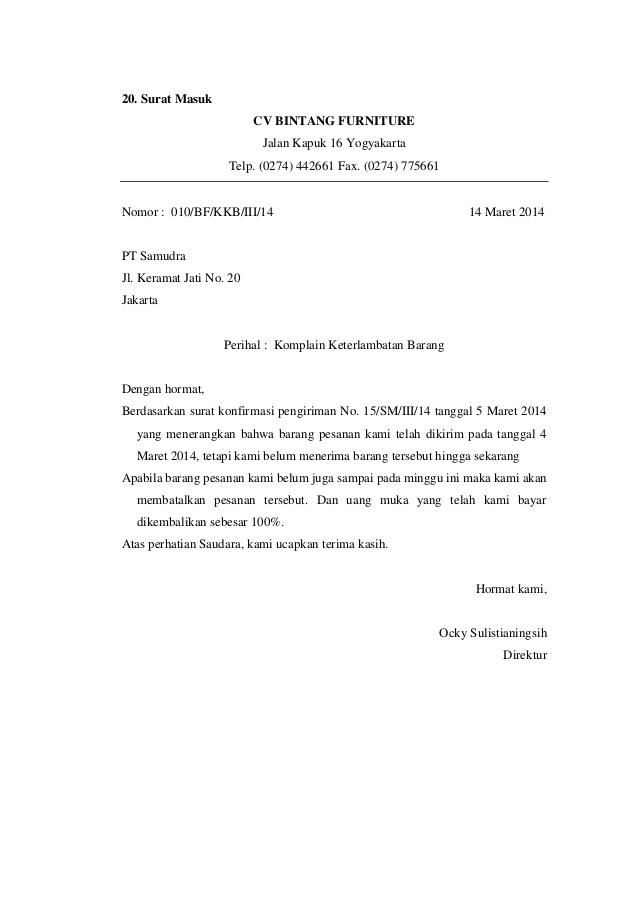 Contoh Surat Pemberitahuan Keterlambatan Pengiriman Barang