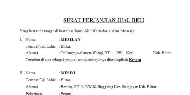 Contoh Surat Perjanjian Jual Beli Kendaraan Bekas Backup