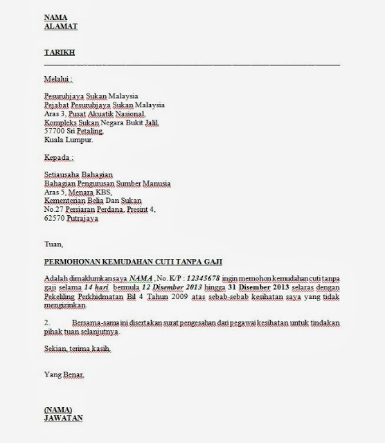 Surat Permohonan Cuti Tanpa Gaji Swasta Surasm Oneletter Co