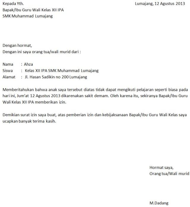 Contoh Surat Izin Sekolah Dalam Bahasa Inggris