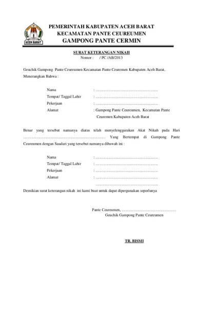 Contoh Surat Nikah Dari Desa Backup Gambar