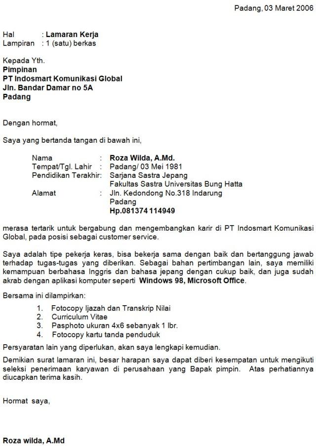 Contoh Surat Lamaran Kerja Indosat Detil Gambar Online