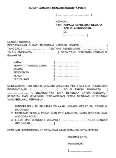 208 Contoh Surat Lamaran Kerja Satpol Pp Terbaru