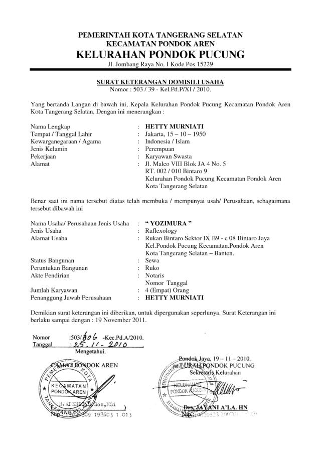 Contoh Surat Keterangan Domisili Cv Dari Desa Berbagi Contoh Surat