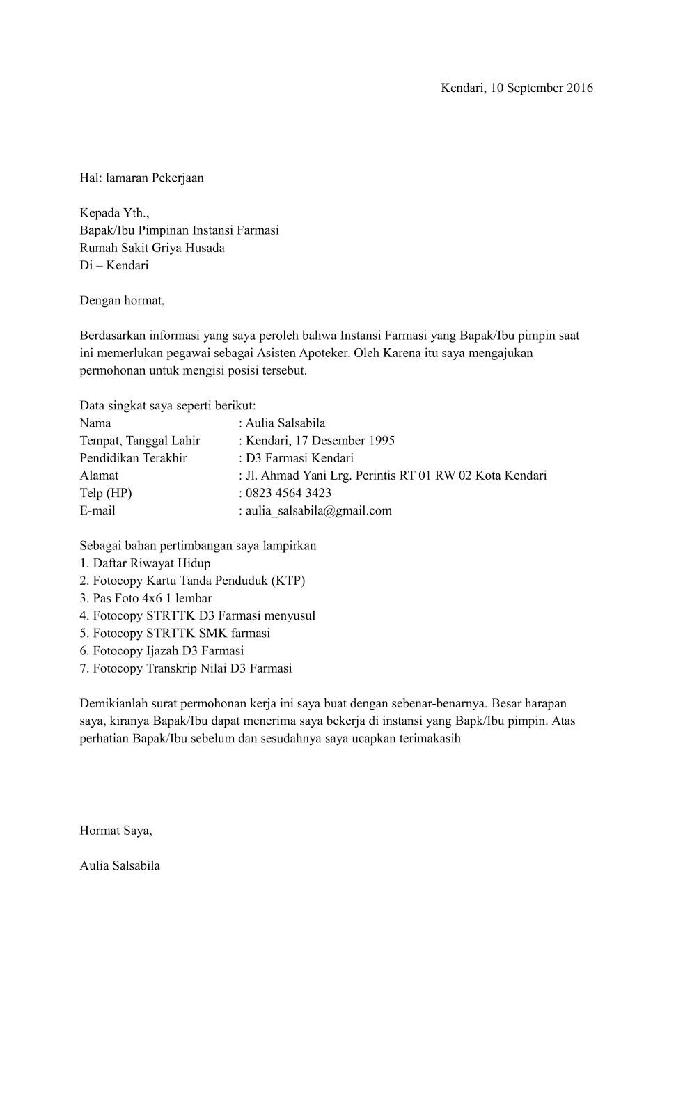 Contoh Surat Lamaran Kerja Di Klinik Kimia Farma