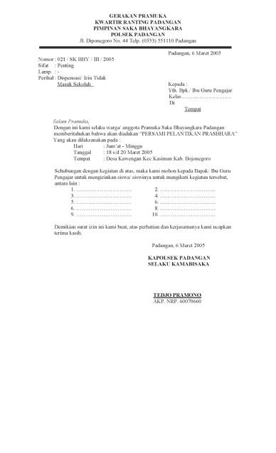 Contoh Surat Dispensasi Tempat Wisata Backup Gambar