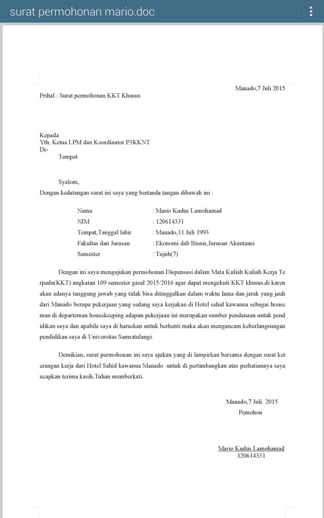 Contoh Surat Izin Dispensasi Tidak Masuk Sekolah
