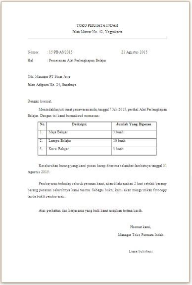 Contoh Surat Block Style Pemesanan Barang Backup Gambar