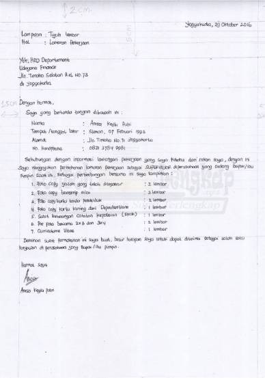 Kertas Folio Contoh Surat Lamaran Kerja Tulisan Tangan Bagi Contoh Surat