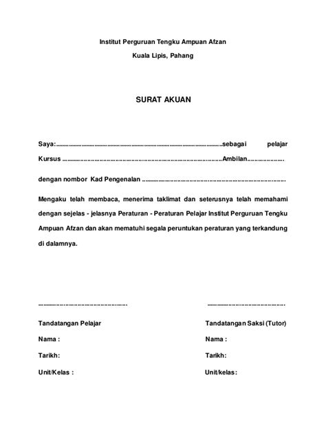 Contoh Surat Akuan Bujang Negeri Terengganu Backup Gambar
