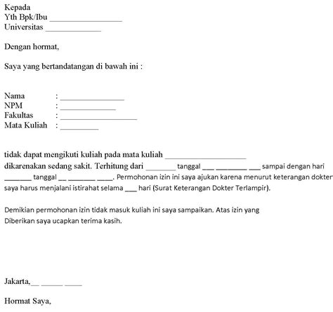 Contoh Surat Izin Kerja Karena Ada Urusan Keluarga