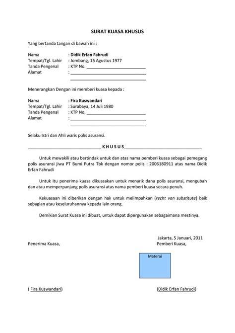Contoh Surat Kuasa Perwakilan Ahli Waris Backup Gambar Download