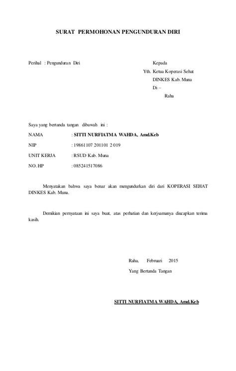 Contoh Surat Permohonan Pengunduran Diri Dari Anggota Koperasi