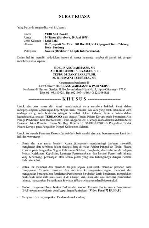 Contoh Surat Kuasa Hukum Acara Ptun Tygpress